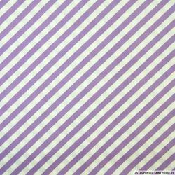 Coton imprimé rayures diagonales violet