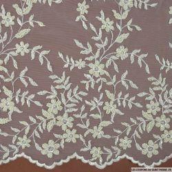 Tulle brodée perlée branches de fleurs sable au mètre