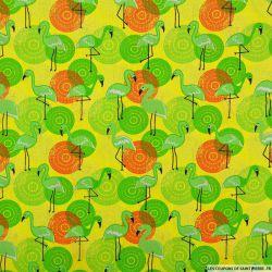 Coton imprimé flamant jaune