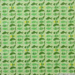Coton imprimé poissons vert