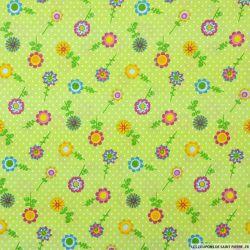 Coton imprimé tournesol vert