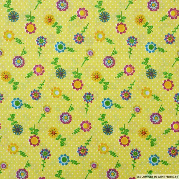 Coton imprimé tournesol jaune