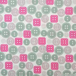 Coton imprimé boutons rose
