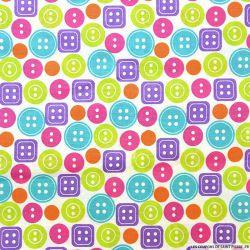 Coton imprimé boutons multicolore