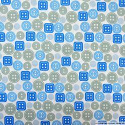 Coton imprimé boutons bleu