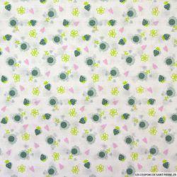 Coton imprimé fraises vert