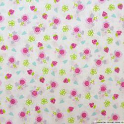 Coton imprimé fraises rose