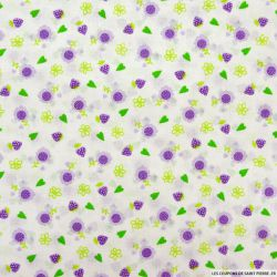 Coton imprimé fraises violet
