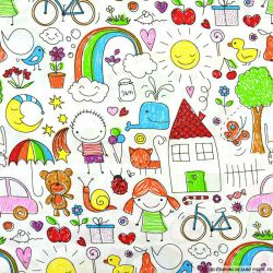 Coton imprimé coloriage enfant