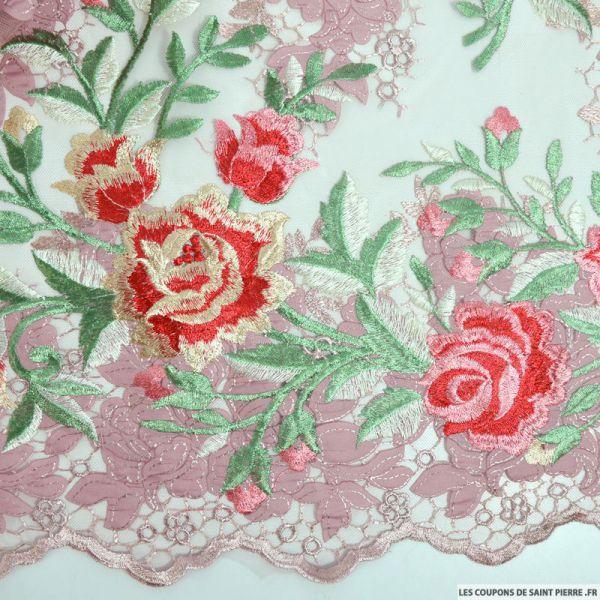 Tulle festonné brodé fantaisie vieux rose