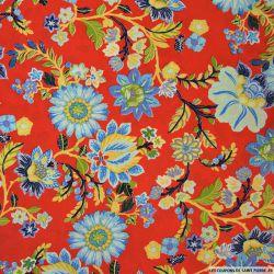 Tissu microfibre imprimé fleurs fond rouge