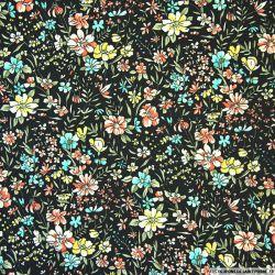 Tissu microfibre imprimé fleurs des champs acidulé
