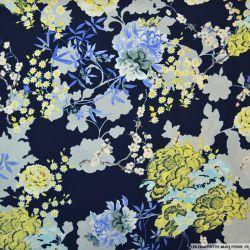 Tissu microfibre imprimé fleurs japonaises fond marine