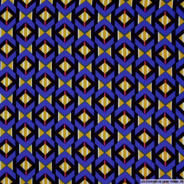 Tissu microfibre imprimé losanges retro bleu