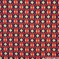 Tissu microfibre imprimé losanges retro rouge