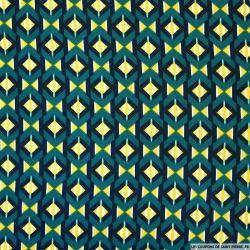 Tissu microfibre imprimé losanges retro vert