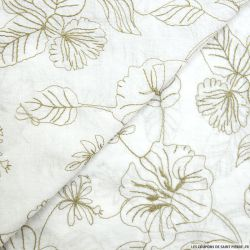 Voile de coton blanc cassé brodé fleurs