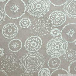 Jersey polyester imprimé ethnique fond beige