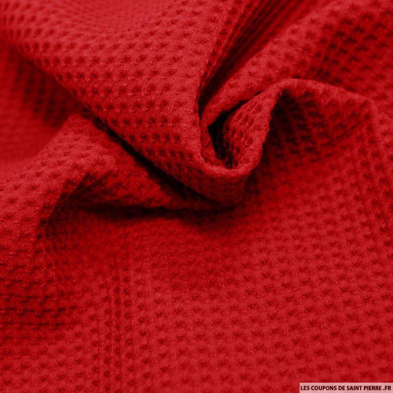 tissu polyviscose nid d 39 abeille rouge. Black Bedroom Furniture Sets. Home Design Ideas