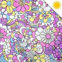Jersey de coton couleur magique fleuris vendu au mètre
