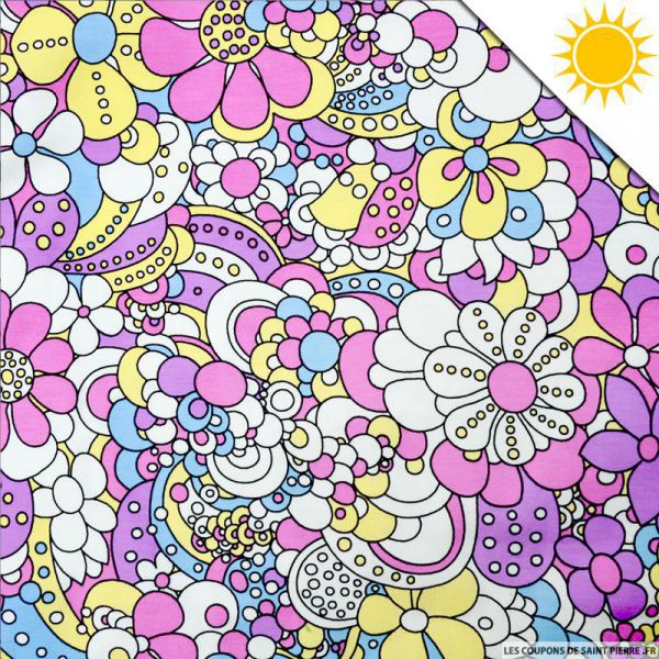 Jersey de coton couleur magique fleuris vendu au m tre - Les couleurs des tissus ...
