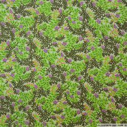 Polycoton imprimé fleurs violet et verdure