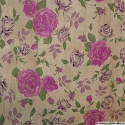 Voile de coton imprimé roses sépia beige