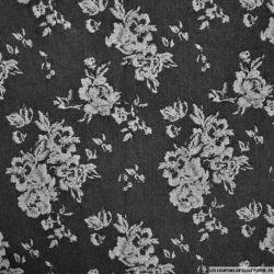 Gabardine jacquard de coton fleurs argent fond noir