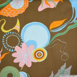 Gabardine de coton fil teint amande fleuris