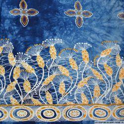 Coton imprimé tie and die bleu exotique