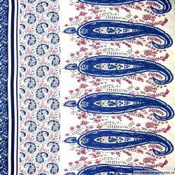 Viscose imprimé tie and die bleu cachemire bleu et rose