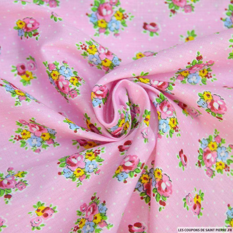 tissu coton imprim bouquet de fleurs et pois fond rose. Black Bedroom Furniture Sets. Home Design Ideas