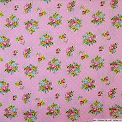 Coton imprimé bouquet de fleurs et pois fond rose