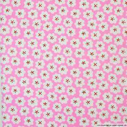 Coton imprimé nuages fond rose
