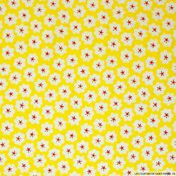 Coton imprimé nuages fond jaune