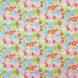 Coton imprimé champs de fleurs rose