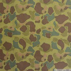 Gabardine de polycoton camouflage sable