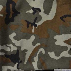 Viscose imprimée camouflage kaki et marron clair