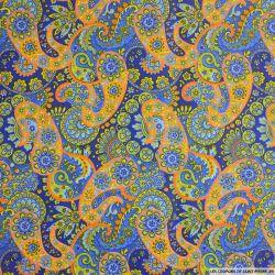 Coton imprimé cachemire orange et bleu