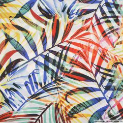 Satin polyester imprimé feuilles multicolores