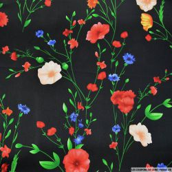 Satin polyester imprimé fleurs fond noir