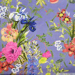 Satin polyester imprimé fleurs sauvage fond violet