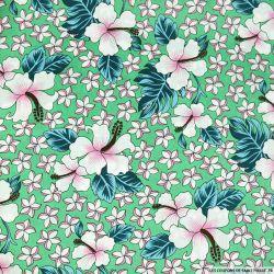 Satin polyester imprimé Hawaï fond vert