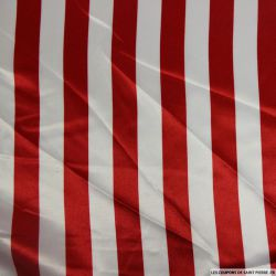 Satin polyester imprimé rayures rouge