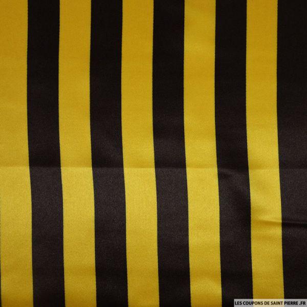 Satin polyester imprimé rayures jaune