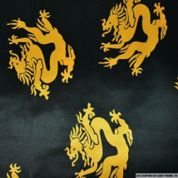 Satin polyester imprimé dragon fond noir