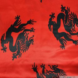 Satin polyester imprimé dragon fond rouge