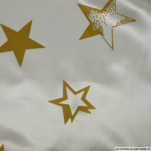 Satin polyester imprimé étoiles fond blanc