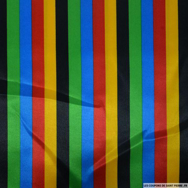 Satin polyester imprimé rayures multicolor