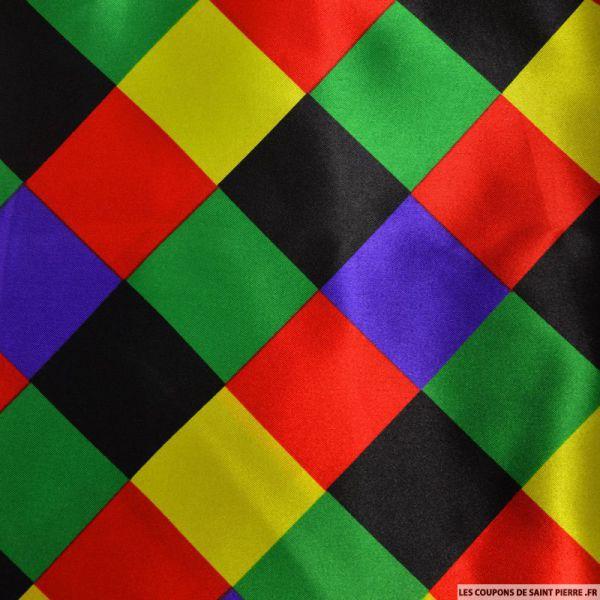 Satin polyester imprimé carreaux multicolore